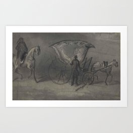 Constantin Guys,  A Turkish tulip carriage with rider and attendant Art Print