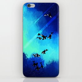Blue Space Orcas iPhone Skin