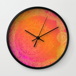 Fuchsia Pink Orange & Gold Indian Mandala Glam Wall Clock