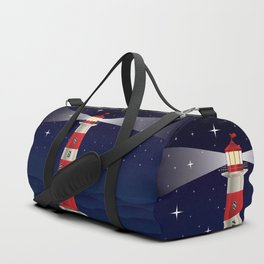 Cartoon landscape with lighthouse night sea and starry sky Duffle Bag