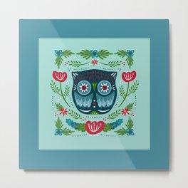 Merry & Bright Owl   Christmas Blue Metal Print