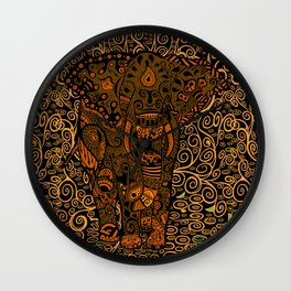 Aztec Elephant With Floral Pattern Wall Clock
