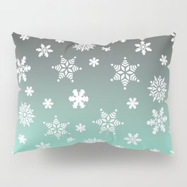 Snow Flurries-Gray/Aqua Ombre Pillow Sham