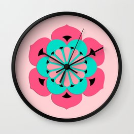 Lotus Flower Mandala, Coral Pink and Turquoise Wall Clock