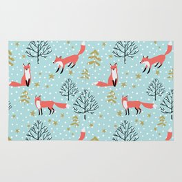 Red foxes in the blue winter forest with snow Rug
