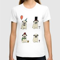 pugs T-shirts featuring Party Pugs by Adam Lindfors