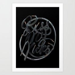 Kiss My Kicks - Black On Black Art Print