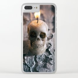 Halloween: Lit Skull Candle On Weathered Wood Table Clear iPhone Case