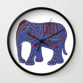Lucky Elephant Indigo Wall Clock