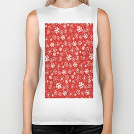 Snowflake Snowstorm With Poppy Red Background Biker Tank