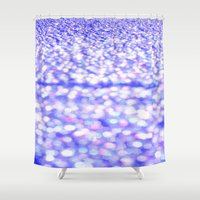 glitter Shower Curtains featuring Periwinkle Glitter Sparkle by WhimsyRomance&Fun