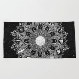 Zodiac Signs Mandala with Starry Background Beach Towel