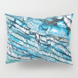 Blue Marble with Black Pillow Sham