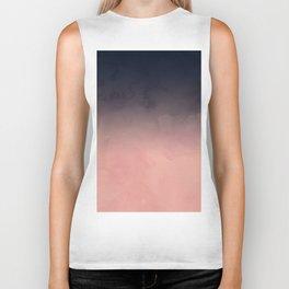 Modern abstract dark navy blue peach watercolor ombre gradient Biker Tank