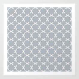 Classic Quatrefoil pattern, silver grey Art Print