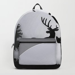 deer in forest with full moon Backpack