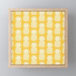 Mid Century Modern Pineapple Pattern Yellow 4 Framed Mini Art Print