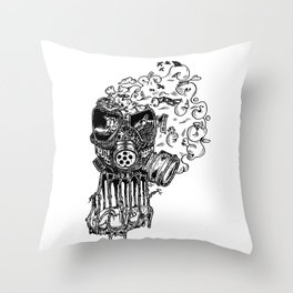 Gassed Throw Pillow