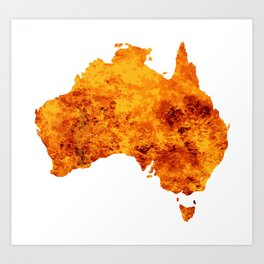 Australia Map With Flames Background Art Print
