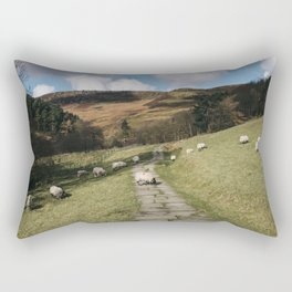 Stone footpath and grazing sheep. Edale, Derbyshire, UK. Rectangular Pillow