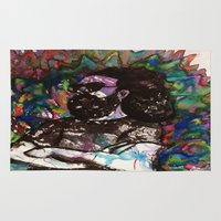 grateful dead Area & Throw Rugs featuring Jerry Garcia Watercolor Portrait Grateful Dead by Acorn
