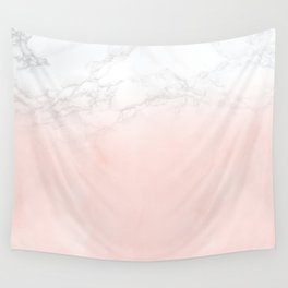 Blush Pink on White and Gray Marble II Wall Tapestry