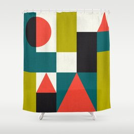 Mid-century Pattern 107 (blocks) Shower Curtain