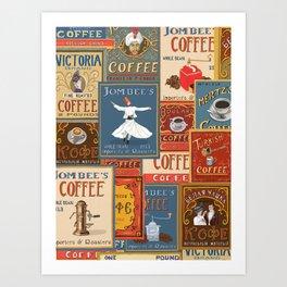 Vintage Coffee Labels Collage Art Print