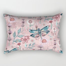 Rose Gold Dragonfly Garden | Pastel Rectangular Pillow