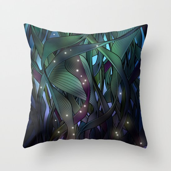 Nocturne with Fireflies Throw Pillow
