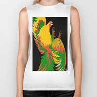 rooster Biker Tanks featuring Rooster by Saundra Myles