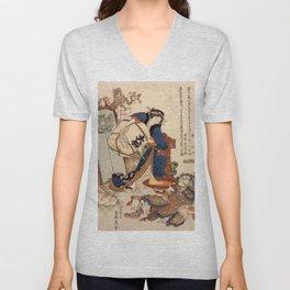 The Strong Oi Pouring Sake by Katsushika Hokusai Unisex V-Neck