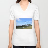 golf V-neck T-shirts featuring Golf by Rebecca Bear