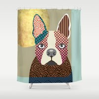 boston terrier Shower Curtains featuring Boston Terrier  by Lanre Studio