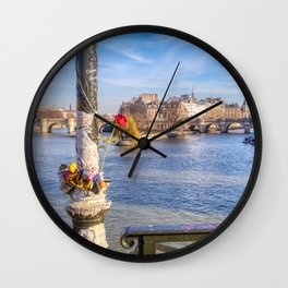 Pont des Arts on Valentine's day Wall Clock