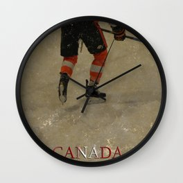 Taking to the Ice - Ice Hockey Postage Stamp Art Wall Clock