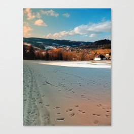 Winter wonderland and village skyline | landscape photography Canvas Print