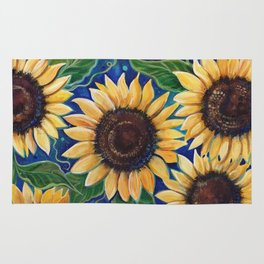 Sunflowers in the evening Rug