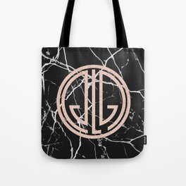 great Gatsby rose gold black marble Tote Bag