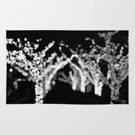 Twinkle Lights - Holiday Lights in Black and White Rug