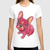 frenchie T-shirts featuring Raspberry frenchie by Ola Liola
