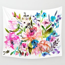 WATERCOLOUR PEONY AND ROSES Wall Tapestry