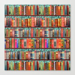 Vintage Books / Christmas bookshelf & holly wallpaper / holidays, holly, bookworm,  bibliophile Canvas Print