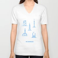 cities V-neck T-shirts featuring Cities Worldwide by Sergii Rodionov