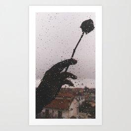 PHOTOGRAPHY- rose and rain Art Print