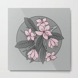 Sakura Branch - Ballet Slipper + Neutral Grey Metal Print