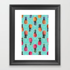 From Pineapple to Pink - tropical doodle pattern on mint Framed Art Print