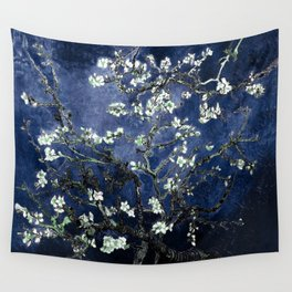 Vincent Van Gogh Almond Blossoms Dark Blue Wall Tapestry