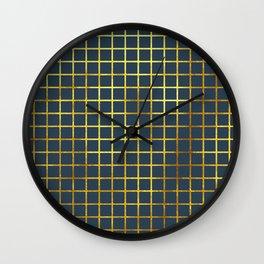 Blue & Gold Grid Wall Clock