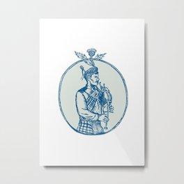 Scotsman Bagpiper Playing Bagpipes Etching Metal Print